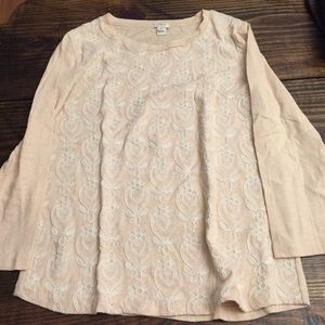 J crew cream embroidered pattern top sz M